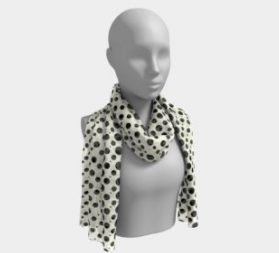 Ivory and Black Dots Scarf