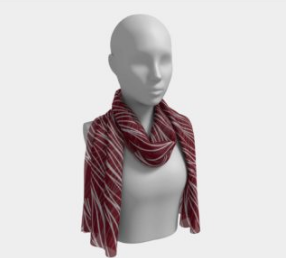 Maroon and Silver Waves Scarf