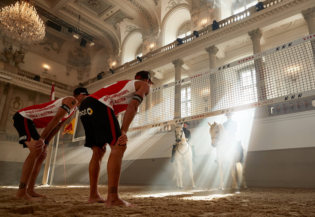 Spanish Riding School Horses and Volleyball Players in Vienna