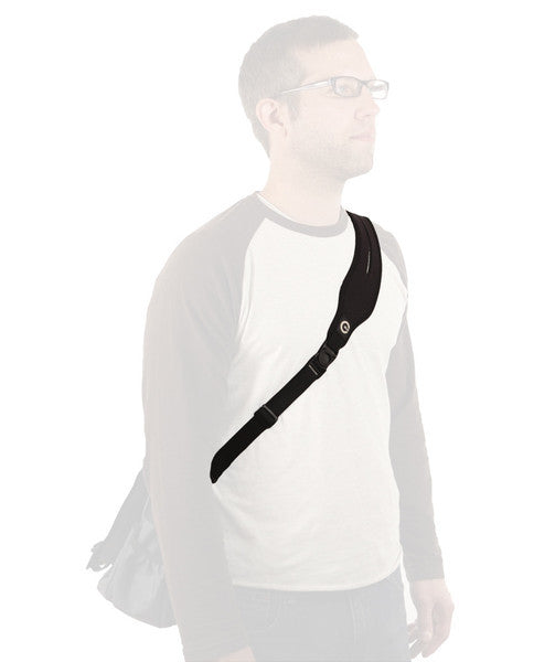Laptop bag strap on person