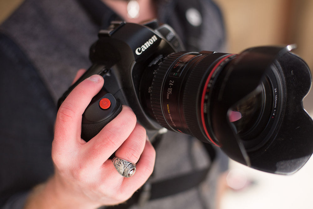 Closeup of hand on DSLR camera with ProDot Shutter Button Upgrade