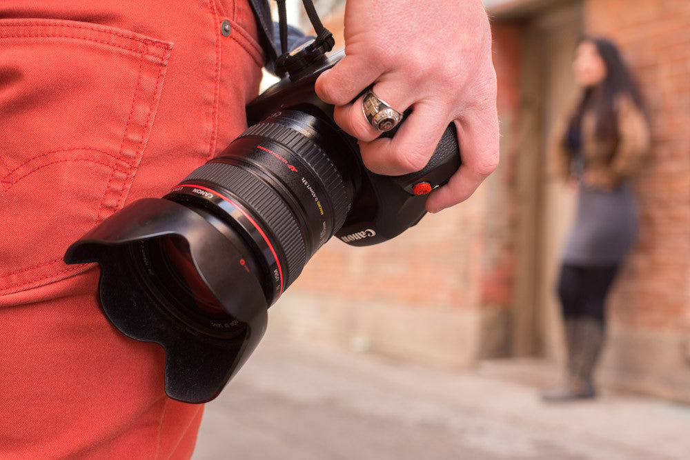Closeup of photographer using ProDot on camera