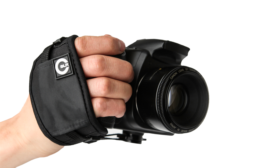 Camera Hand Strap being worn with DSLR camera