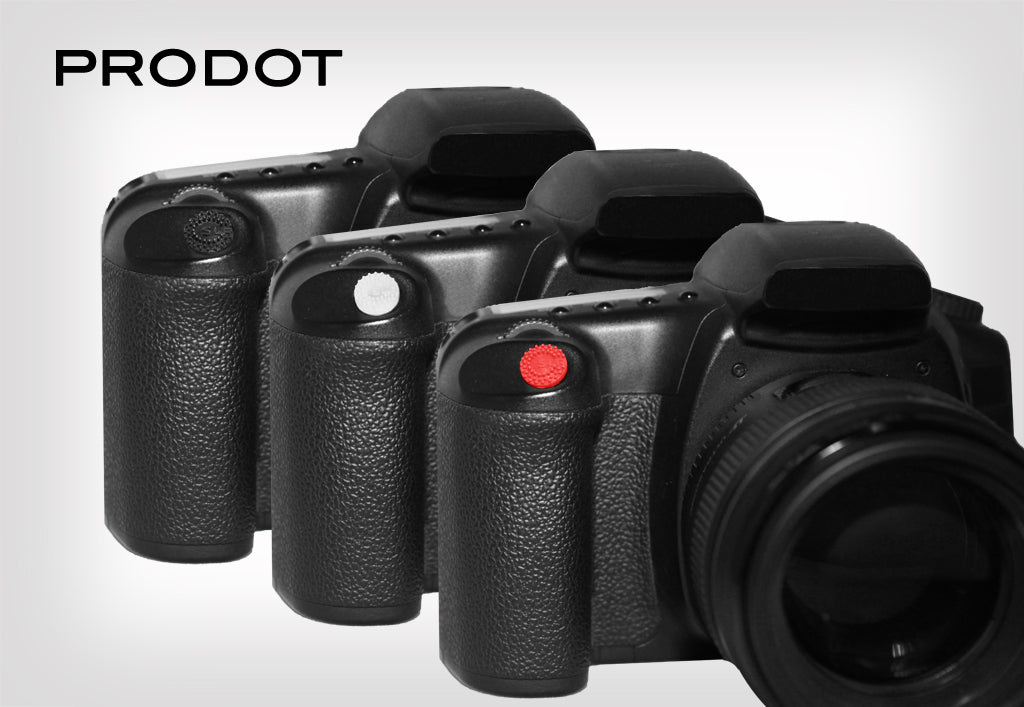 ProDot Shutter Button Upgrade in three colors: black, clear, and red