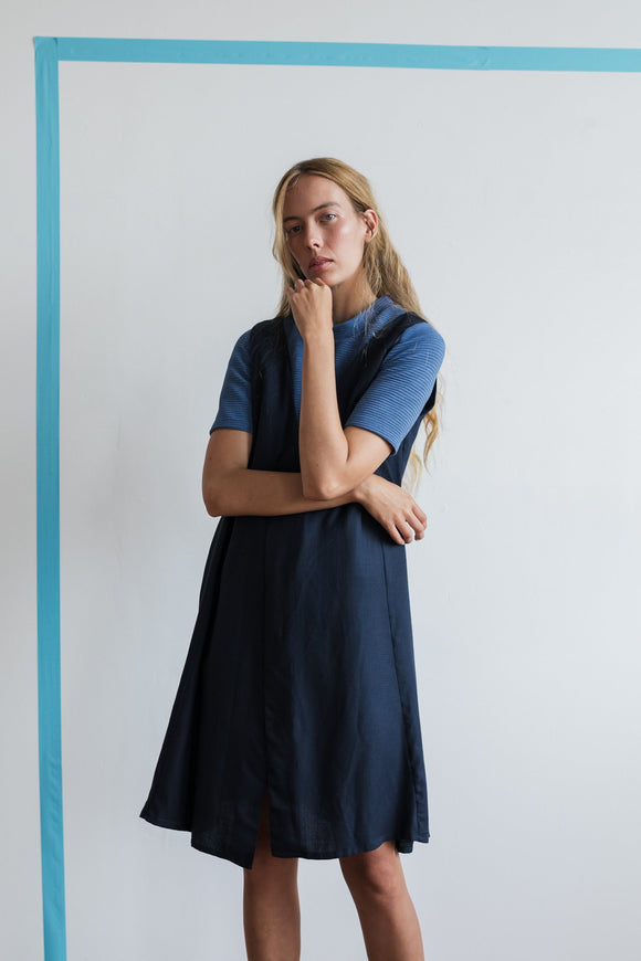 Argyle Pinafore Dress Navy PRE ORDER MAY