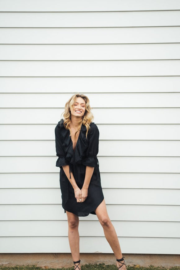Linen Georgia Dress - Black