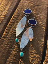 Lapis and Turquoise Leaf  Earrings