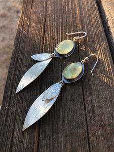 Prehnite Leaf Earrings