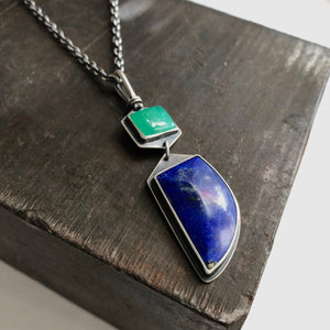 Chrysoprase and Lapis Totem Necklace