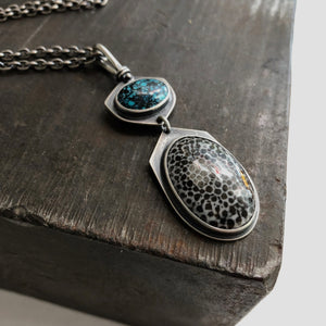 Totem Necklace with Turquoise and Fossilized Black Coral