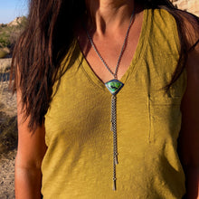Dendritic Turquoise Tassel Necklace