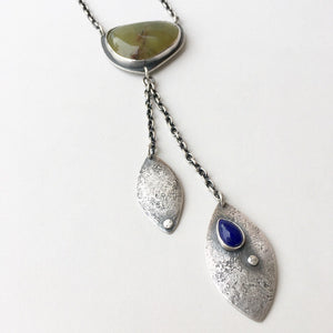 Green Opal Falling Leaves Necklace with Lapis