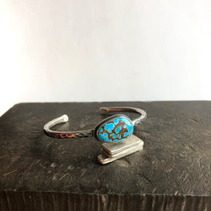 Hammered Cuff Bracelet with Turquoise