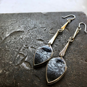 Link Earrings-Dendritic Opal