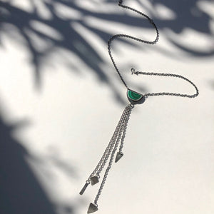 Small Malachite Tassel Fringe Necklace