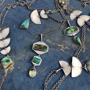 Goddess Necklace-Turquoise, Chrysoprase, Prehnite