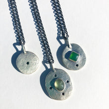 Medallion Necklace with Black Diamonds and Prehnite