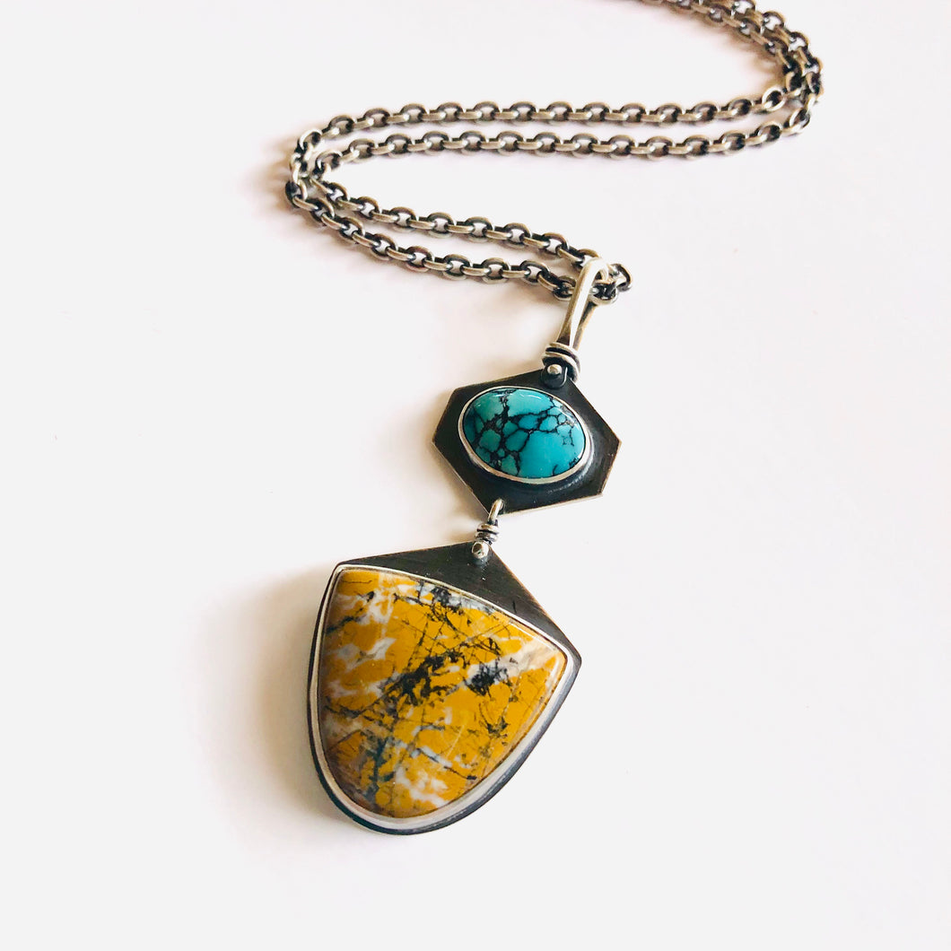 Turquoise and Stone Canyon Jasper Token Necklace