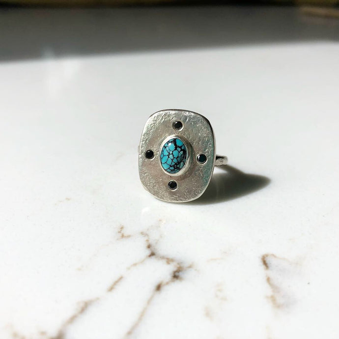 SALE Tablet Ring with Turquoise and Black Diamond