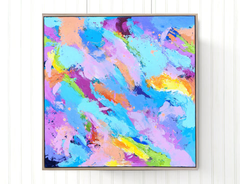 'Something Special' A Beautiful Colourful Original Abstract Painting On Framed Canvas
