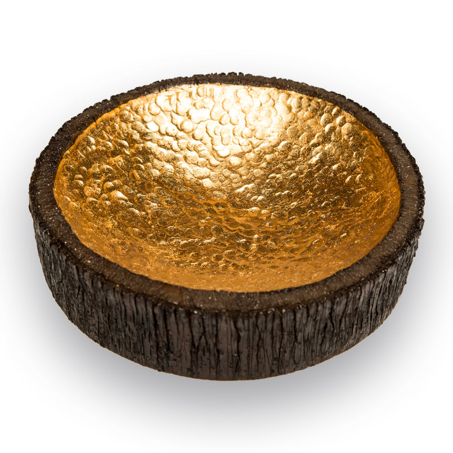 AVALON DECORATIVE SCULPTURE BOWL - LARGE (GOLD) - Badgley Mischka Home
