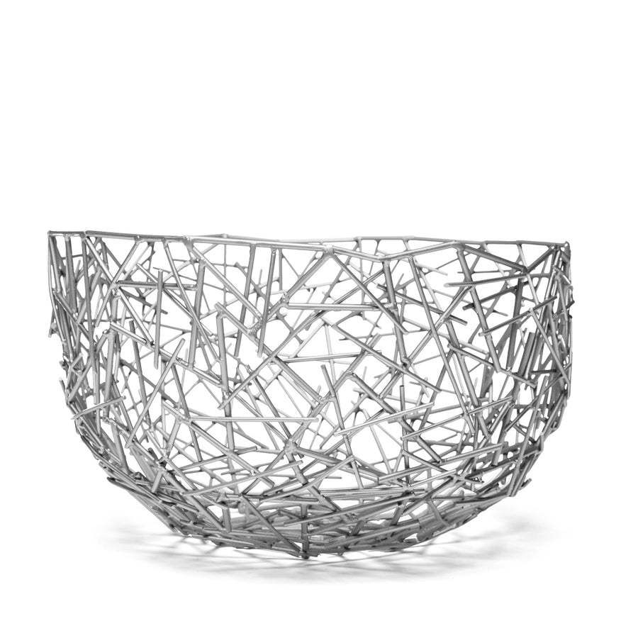 JAMES DECORATIVE SCULPTURE BOWL - SILVER - Badgley Mischka Home