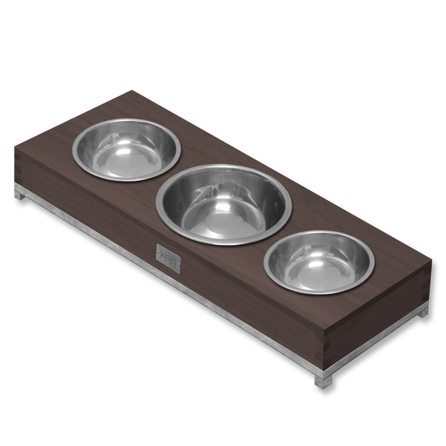 ROMMEL MEDIUM-TRIPLE PET BOWL (SILVER)