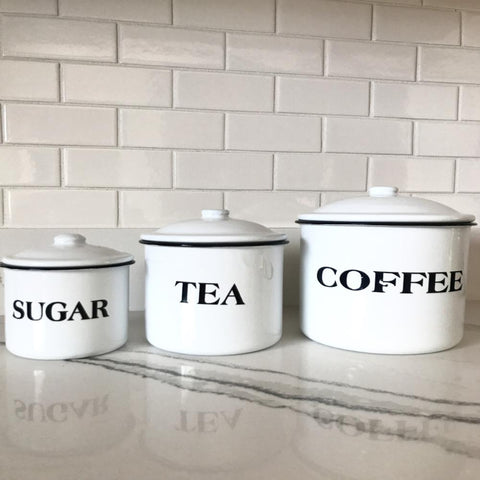 Farmhouse Country Set of Coffee Tea Sugar Storage Containers White Enamelware