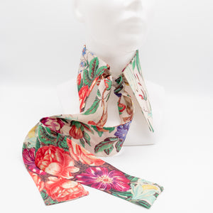 Handcrafted unique neckwear for women made from floral Japanese silk organza.