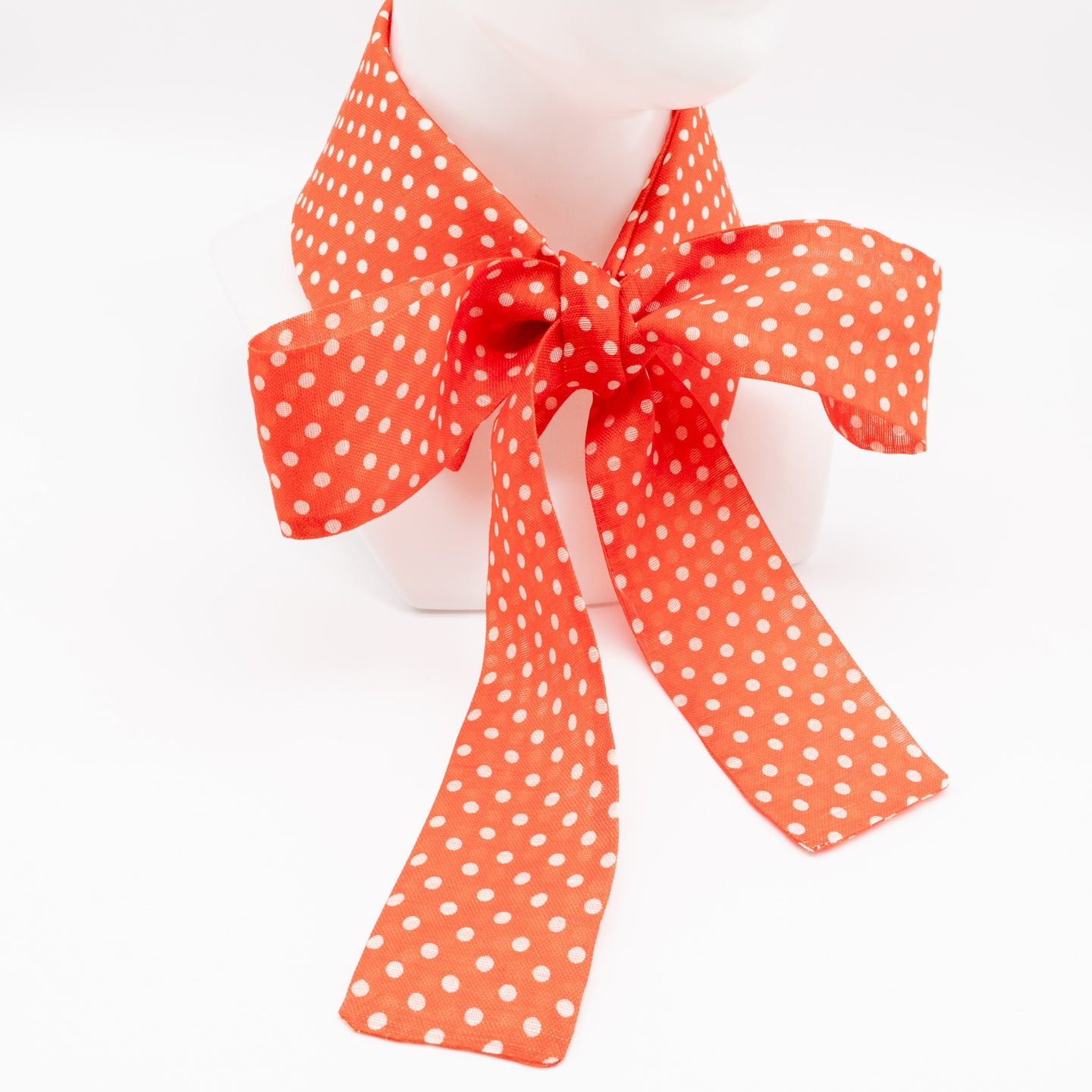 Handcrafted unique neckwear for women made from silk/linen organza, orange with white dots..