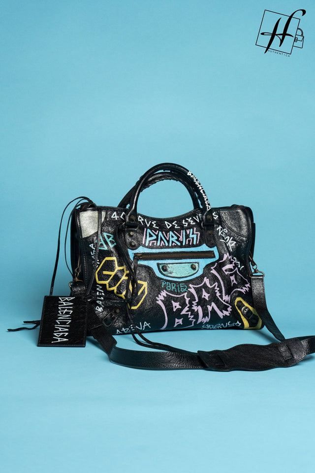 Balenciaga City Graffiti Leather Tote
