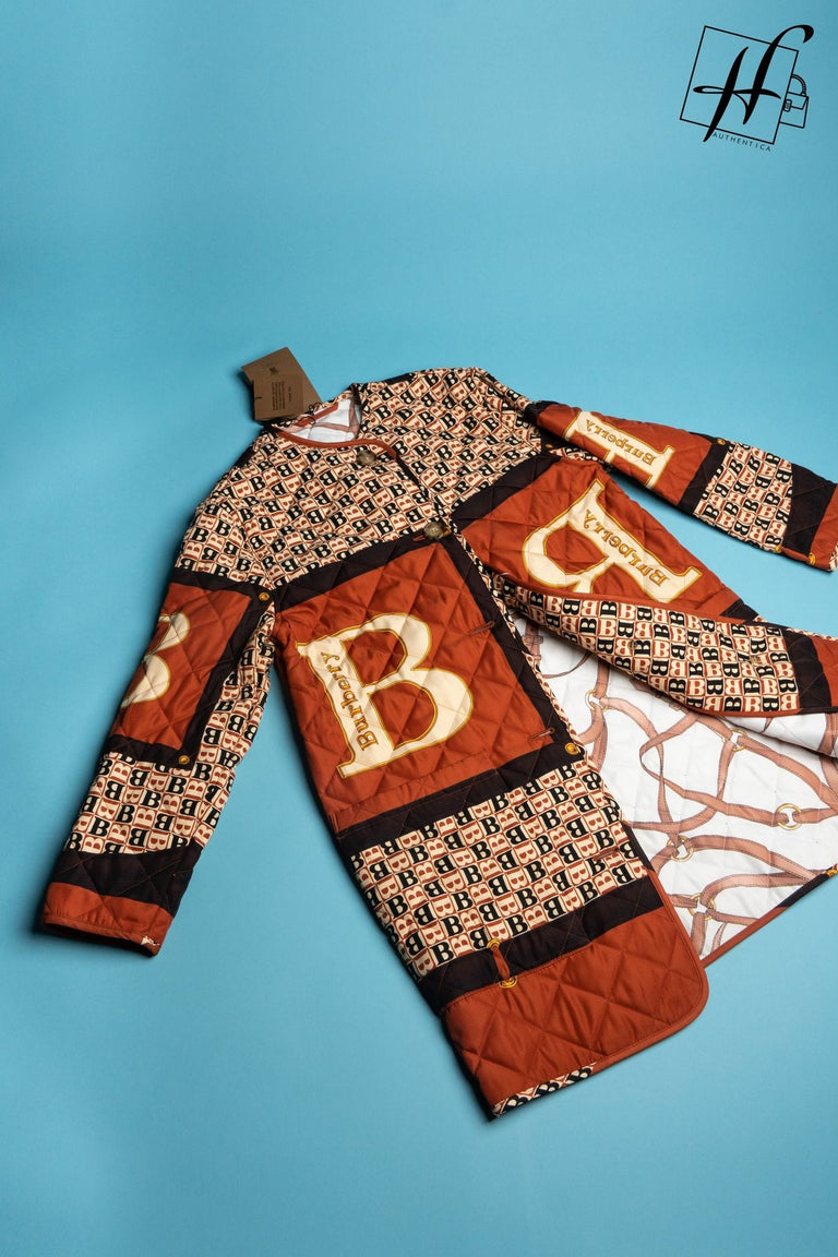 Burberry archive scarf print diamond quilted coat