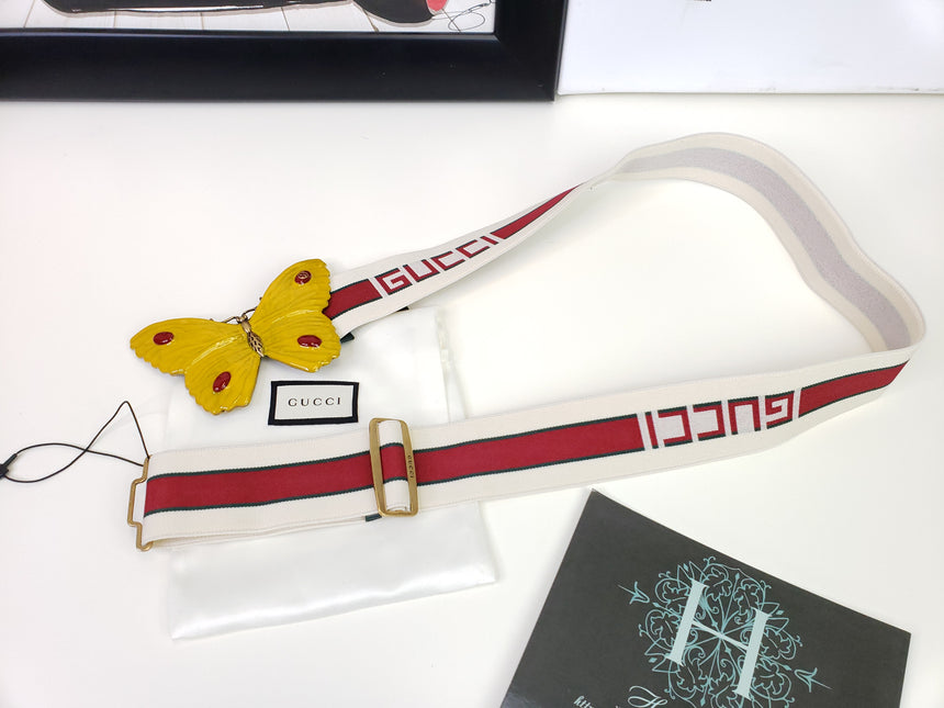 Gucci Stripe Belt with Butterfly