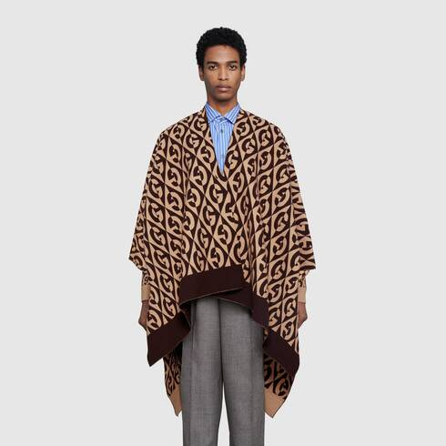 Gucci G rhombus wool cotton poncho