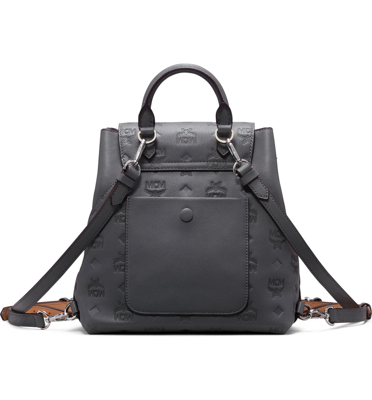 Essential Monogram Leather Small Backpack MCM