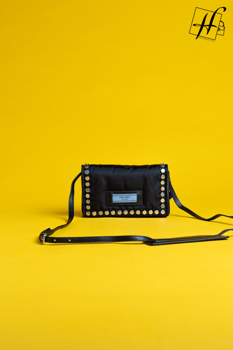 PRADA Nylon Tessuto Studded Small Etiquette Bag