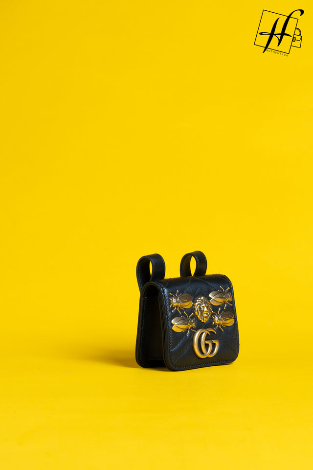 GUCCI Gg Marmont Belt Pack W/ Metal Appliqués In Black