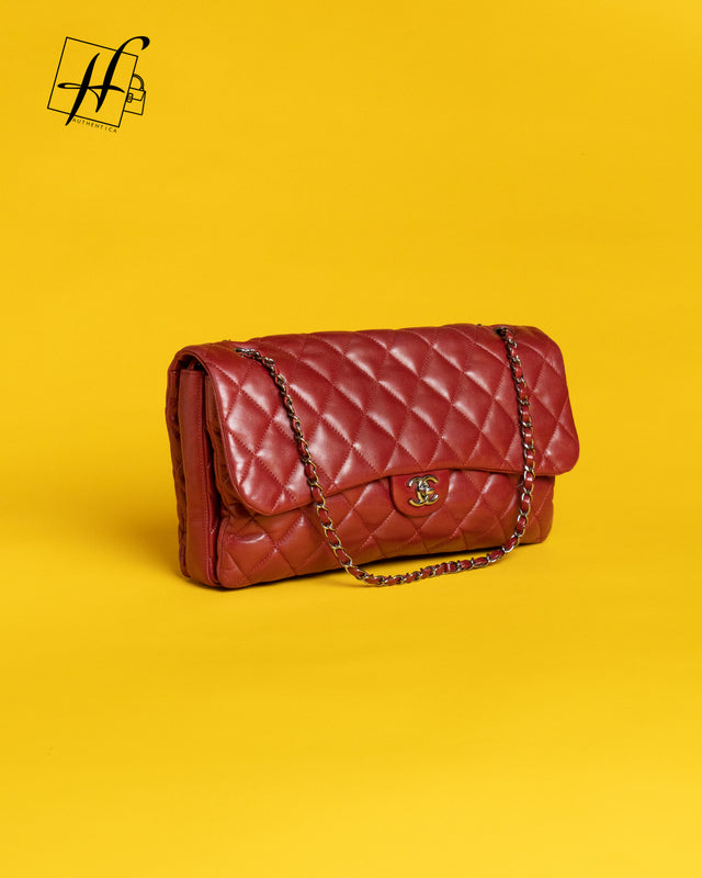 Chanel Red Lamb Skin Large