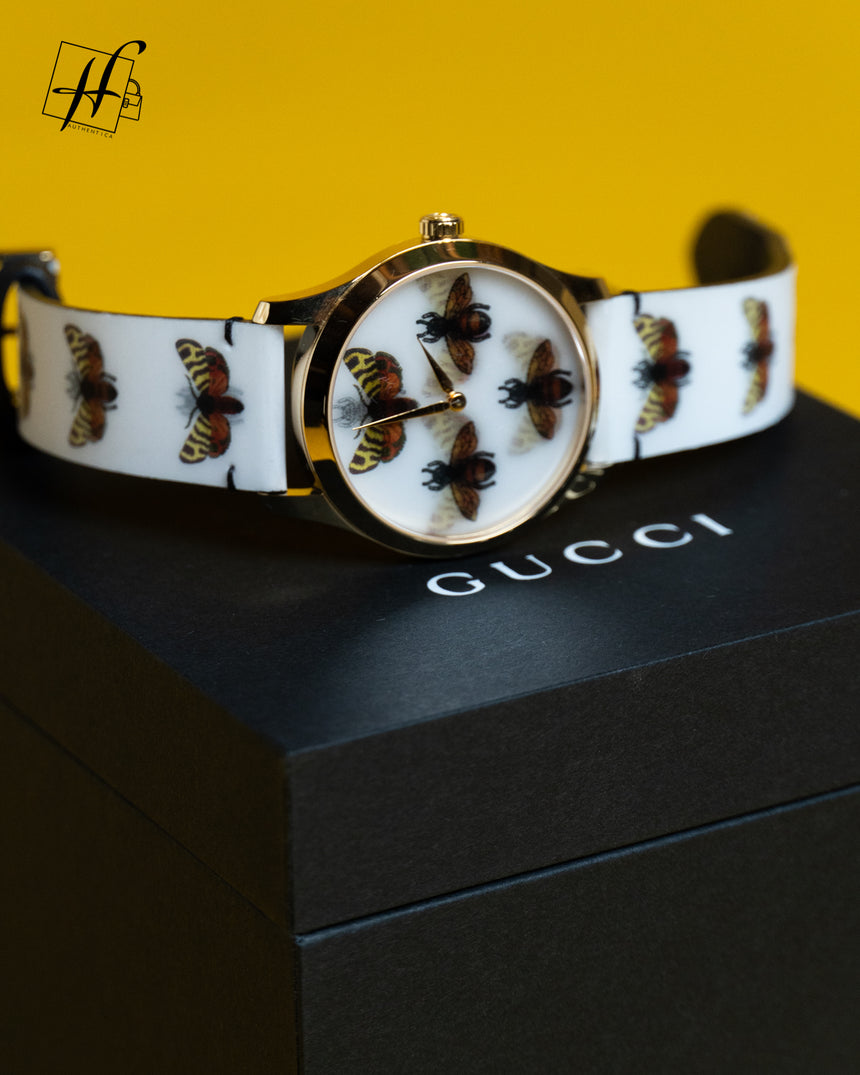 Gucci G-Timeless Gold PVD Case 38MM Bees and Butterfly Hologram Watch