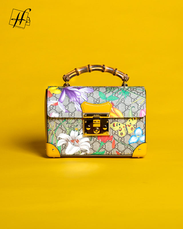 Gucci padlock gg flora small bamboo shoulder bag