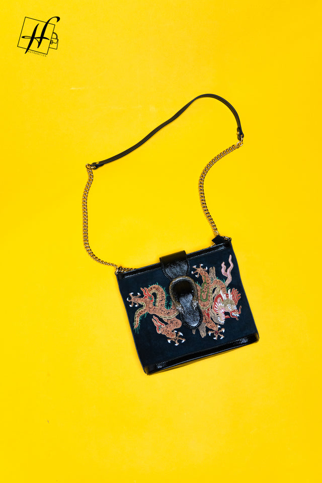 GUCCI Suede Patent Dragon Embroidered Medium Dionysus Bucket Bag Dark Blue