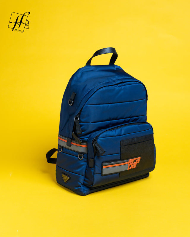 PRADA Nylon And Saffiano Leather Backpack In Blue