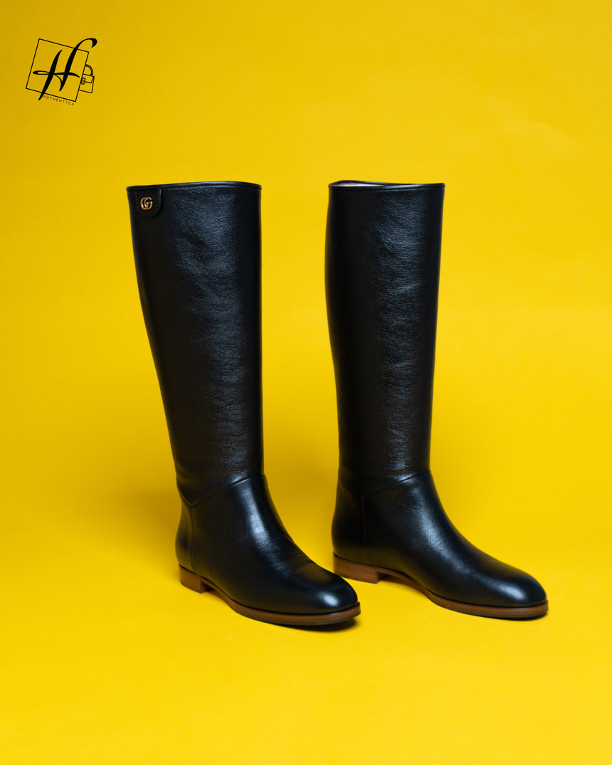 Gucci calf-length leather boots