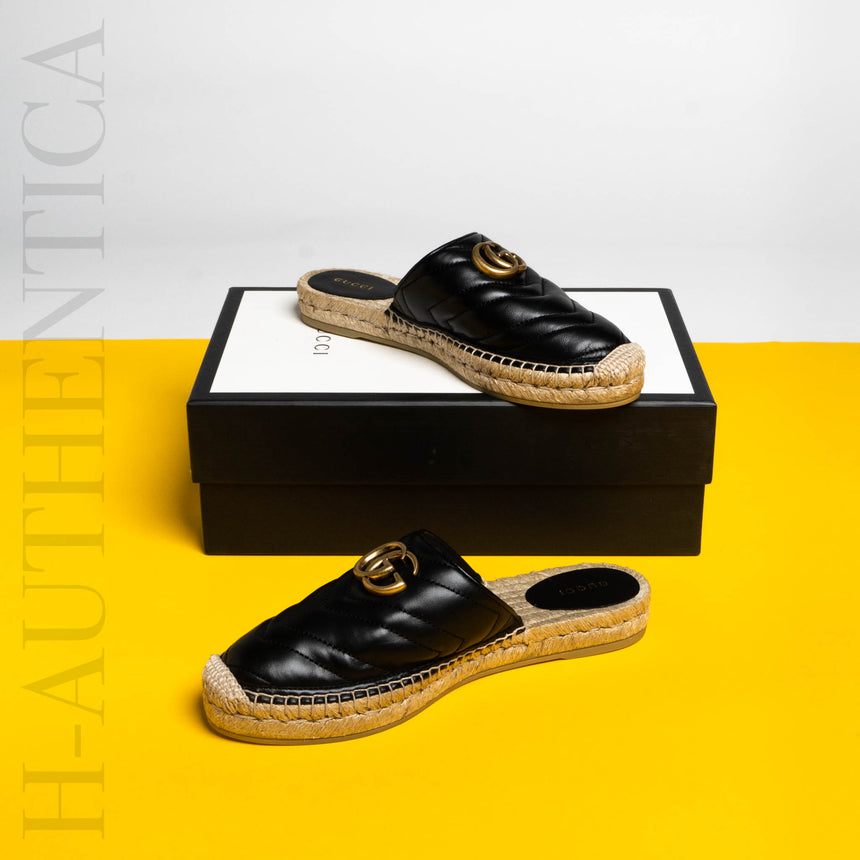Gucci Leather Espadrille Double G