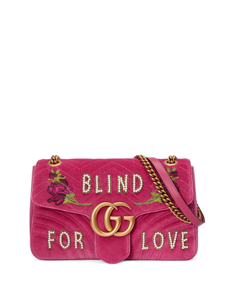 Gucci GG marmont embroidered velvet bag blind for love