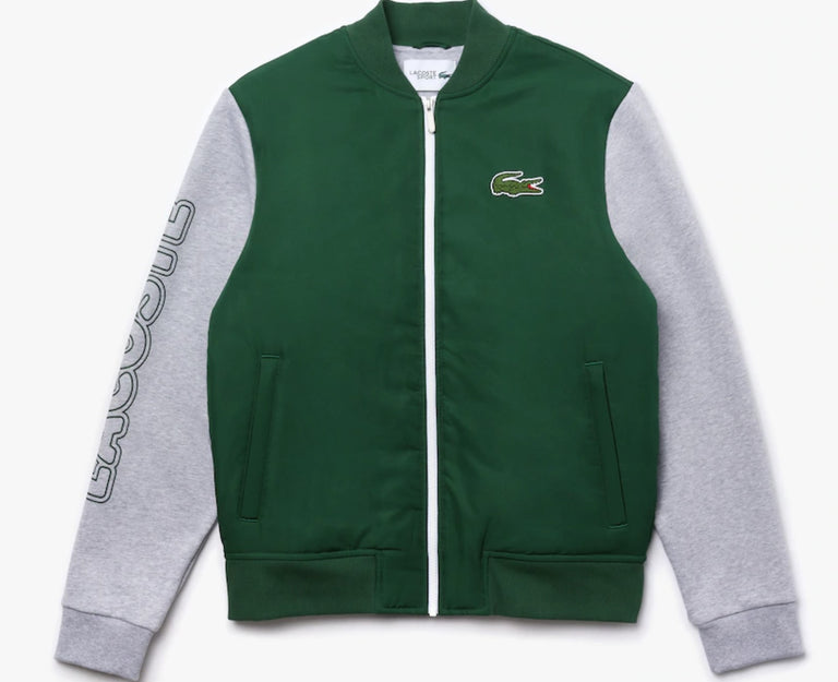 Men's Lacoste SPORT Two-Tone Print Fleece Zip Teddy Jacket