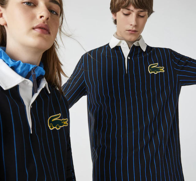 Unisex Lacoste LIVE Loose Fit Striped Cotton Polo Shirt
