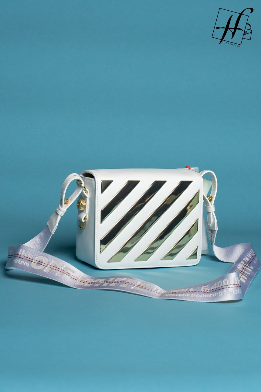Binder Clip Metallic Diagonal Stripe Leather Flap Bag OFF-WHITE