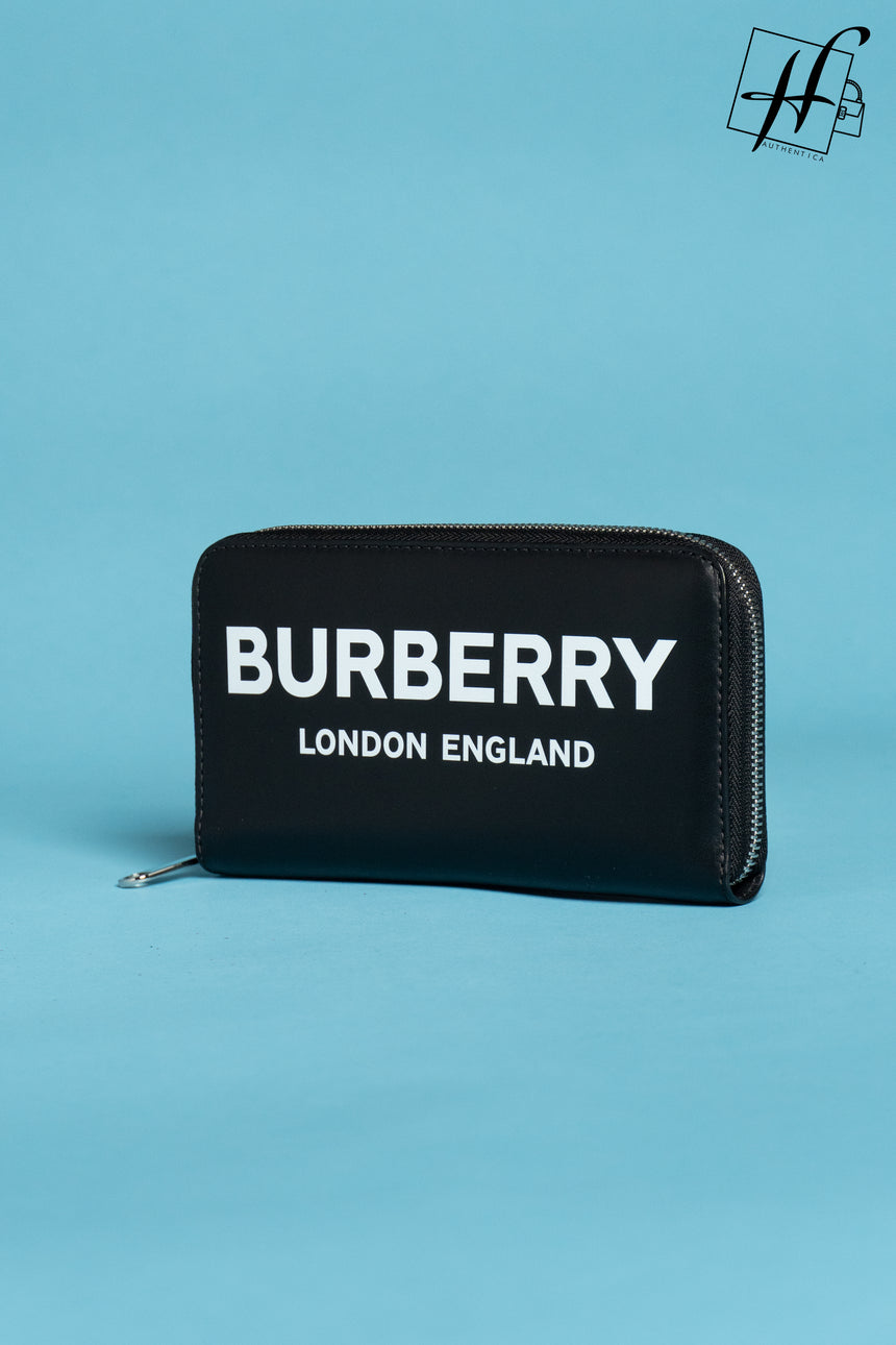 Burberry Logo Print Leather Ziparound Wallet