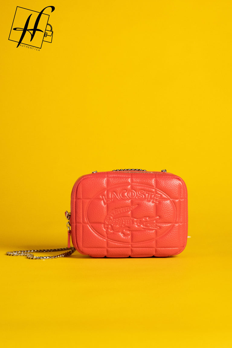 Lacoste quilted zippered shoulder bag